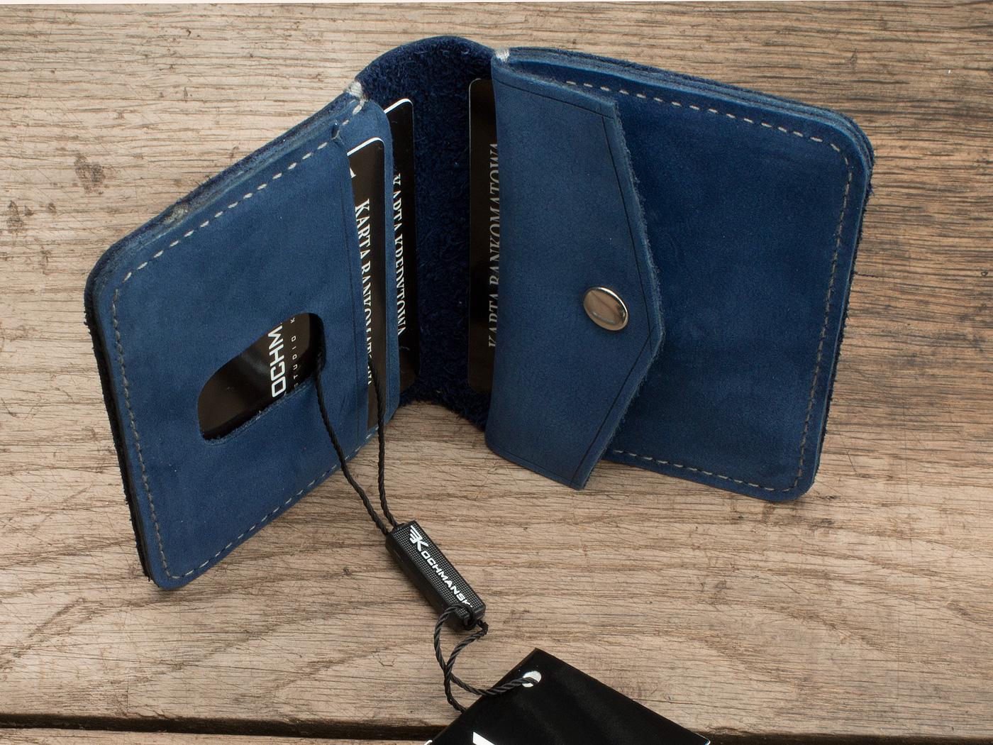 portfel skórzany niebieski